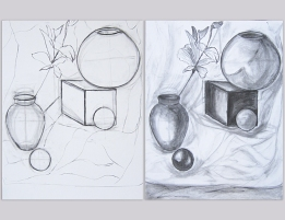 Berrin / First still life with charcoal