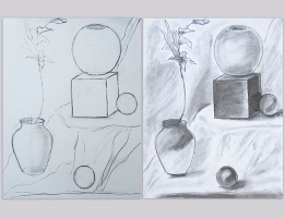 Hanieh / First still life with charcoal