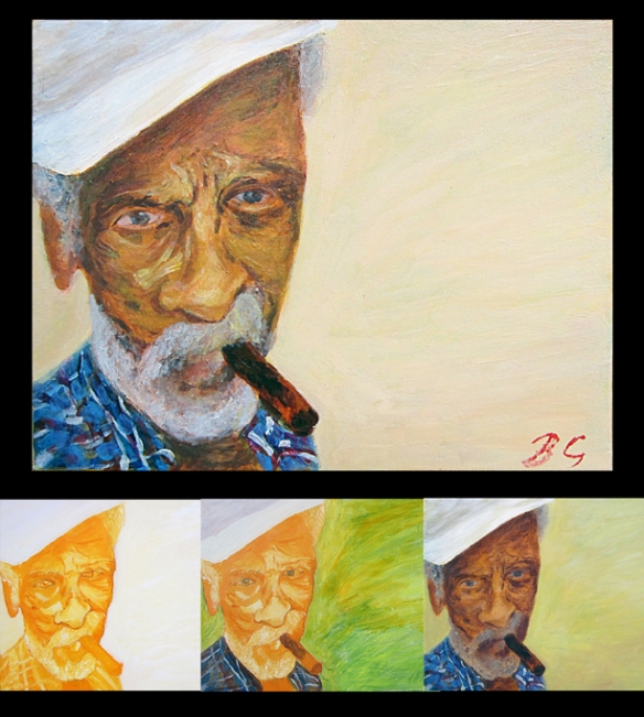 Portrait by Berrin çalkavur, another great example of painting glazes using acrylics