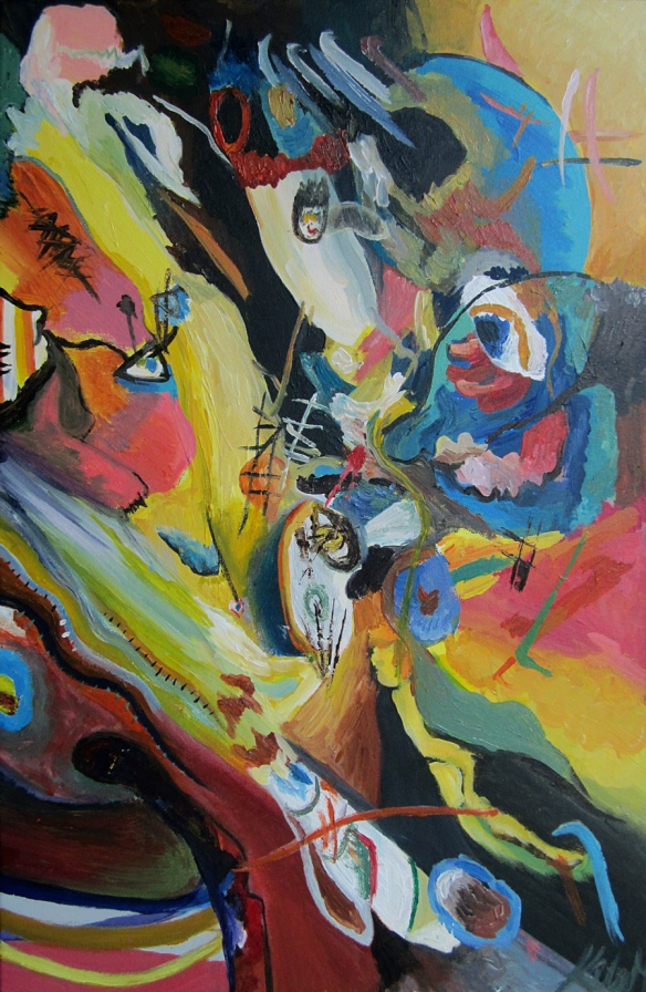 Abstract painting done after Kandinsky by Katie Mayo