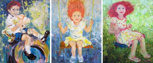 """"""" Swings """" triptych by Ashira Lapin"""
