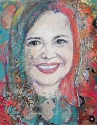 Mixed media portrait by Ashira Lapin