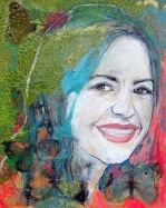 Mixed media portrait by Ashira Lapin