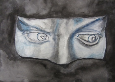 Facial features, watercolors by Kirsten Lamertz