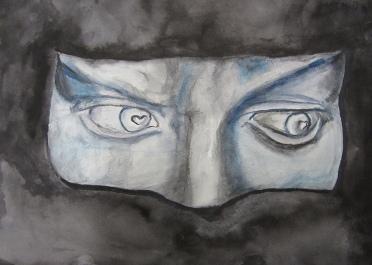 Facial features, watercolors by Kirsten Lamertz