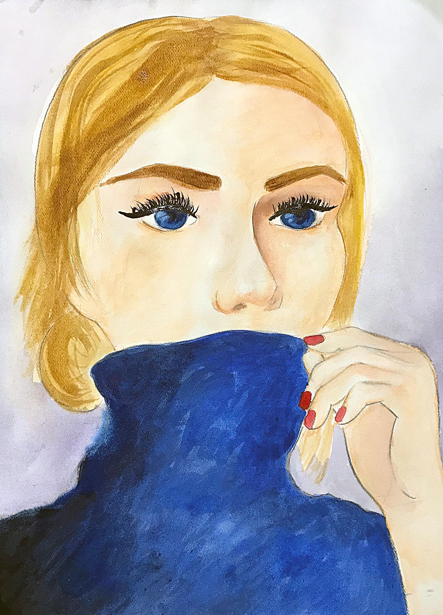 Portrait, watercolors by Irina